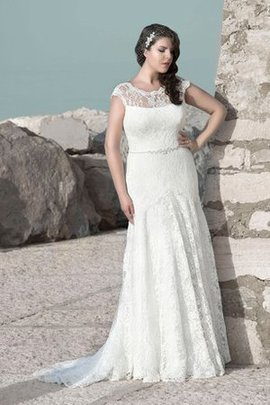 Scoop Sheath Lace Natural Waist Sweep Train Wedding Dress