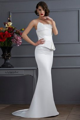 Zipper Up Strapless Sweep Train Mermaid Flowers Evening Dress