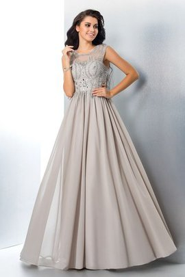 Natural Waist Sleeveless A-Line Beading Long Evening Dress