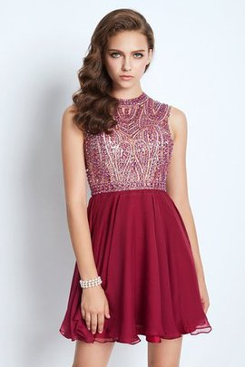 Chiffon Jewel Beading Natural Waist Princess Homecoming Dress
