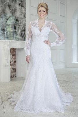 Floor Length Court Train Keyhole Back Natural Waist Lace Fabric Wedding Dress