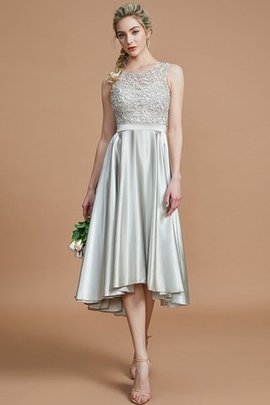 Bateau Asymmetrical Natural Waist Bridesmaid Dress