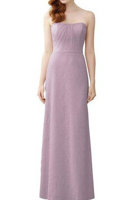 Strapless Ruched Sheath Long Lace Bridesmaid Dress