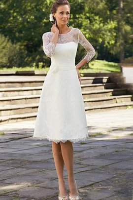 Knee Length 3/4 Length Sleeves Simple Elegant & Luxurious Wedding Dress