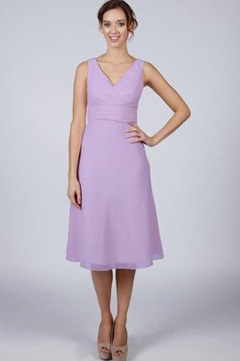 Simple A-Line V-Neck Knee Length Zipper Up Bridesmaid Dress