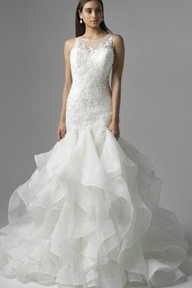 Sleeveless Lace Fabric Floor Length Appliques Natural Waist Wedding Dress