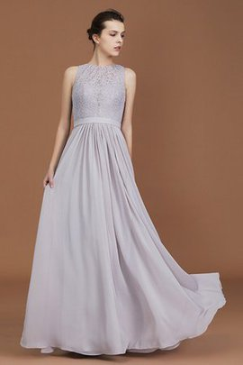 Fascinating Chiffon Sleeveless Zipper Up Scoop Floor Length A-Line Bridesmaid Dress