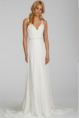 Informal & Casual Embroidery Sweep Train A-Line Lace Wedding Dress
