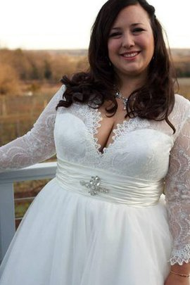Sleeveless Simple Plus Size A-Line Sweep Train Wedding Dress