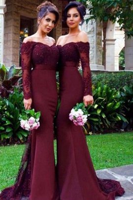 Natural Waist Off The Shoulder Satin Mermaid Long Sleeves Bridesmaid Dress