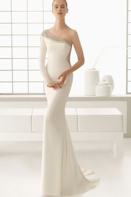 Simple Beading Court Train Long Sheath Wedding Dress