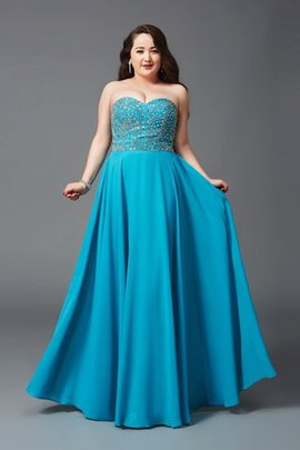 Long Beading Plus Size Princess Sweetheart Prom Dress