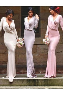 Sleeveless Appliques Floor Length Natural Waist V-Neck Bridesmaid Dress