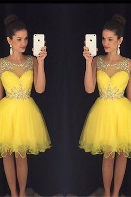 Sleeveless Beading Natural Waist Tulle A-Line Party Dress