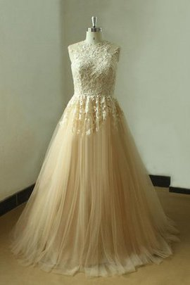 Appliques Pleated High Neck Sleeveless Floor Length Wedding Dress