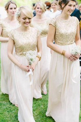 Beading Capped Sleeves Scoop Lace Fabric Floor Length Bridesmaid Dress
