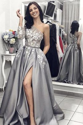 One Shoulder Hot Sale Sleeveless Natural Waist A-Line Appliques Princess Prom Dress