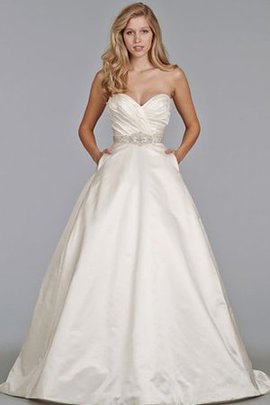 Ball Gown Natural Waist Satin Backless Sweep Train Wedding Dress