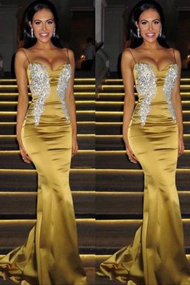 Mermaid Satin Sleeveless Spaghetti Straps Beading Natural Waist Exquisite Prom Dress