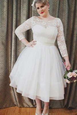 Beach Chic & Modern 3/4 Length Sleeves Plus Size Lace Wedding Dress
