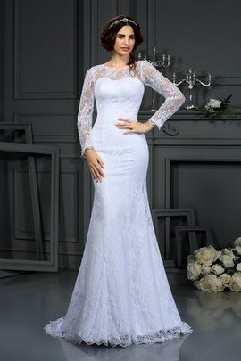 Lace Long Sleeves Natural Waist Zipper Up Sheath Wedding Dress