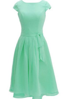A-Line Bateau Pleated Zipper Up Short Sleeves Bridesmaid Dress