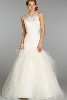 Sweep Train Halter Lace Fabric Dropped Waist Crystal Wedding Dress
