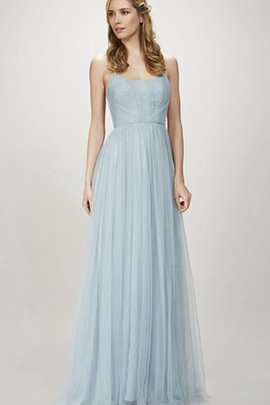 Spaghetti Straps Romantic Tulle Zipper Up Floor Length Bridesmaid Dress