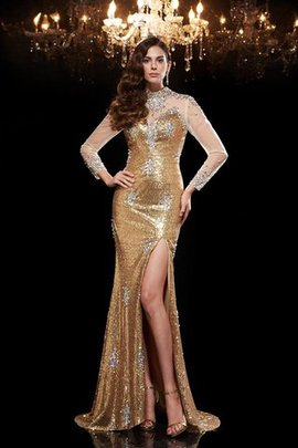 Sequins Beading High Neck Natural Waist Long Evening Dress