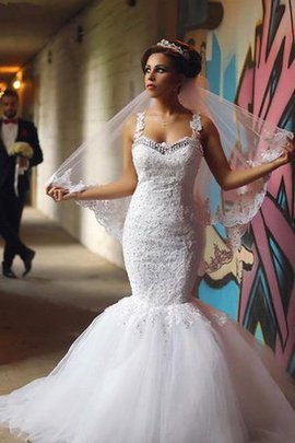 Tulle Spaghetti Straps Beading Floor Length Lace Fabric Wedding Dress