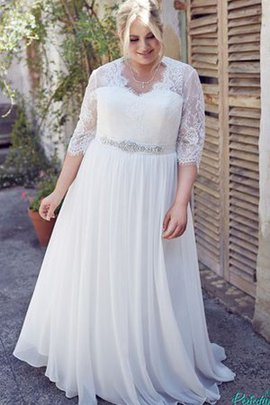 Beading V-Neck Floor Length Jewel Lace Fabric Wedding Dress