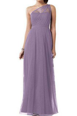 Ankle Length Zipper Up One Shoulder A-Line Tulle Bridesmaid Dress