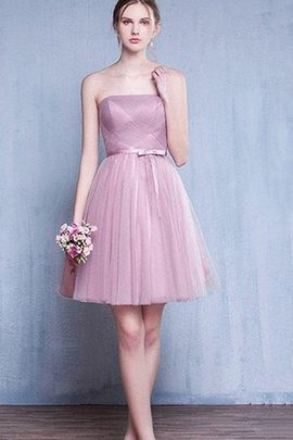 Ruched A-Line Short Strapless Simple Bridesmaid Dress