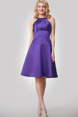 Satin Keyhole Back A-Line Ruched High Neck Cocktail Dress
