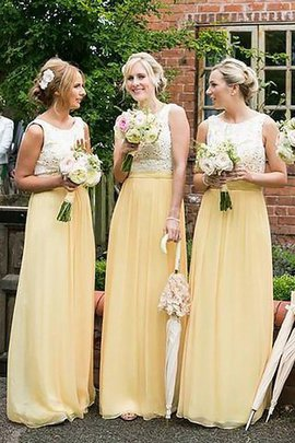 Natural Waist Scoop A-Line Chiffon Bridesmaid Dress