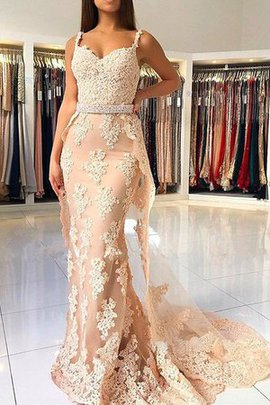 Spaghetti Straps Fashion Wide Straps Sleeveless Natural Waist Lace Tulle Evening Dress