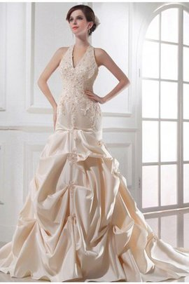 Mermaid Empire Waist Beading Chapel Train Satin Wedding Dress