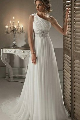Ruched One Shoulder Sleeveless Pleated Chic & Modern Wedding Dress