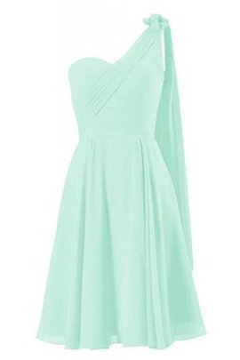 Sleeveless Pleated One Shoulder Natural Waist Chiffon Bridesmaid Dress