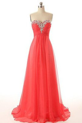 Long Beading Empire Waist Chiffon A-Line Evening Dress