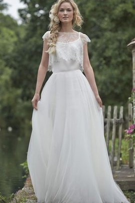 Tulle Capped Sleeves Natural Waist Floor Length Wedding Dress