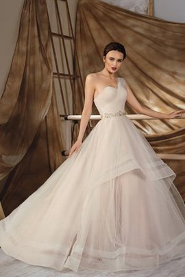One Shoulder Lace-up Court Train Natural Waist Floor Length Wedding Dress