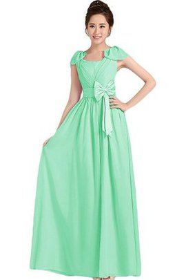 A-Line Capped Sleeves Zipper Up Bow Floor Length Bridesmaid Dress