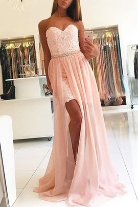 A-Line Natural Waist Sweep Train Fantastic Lace Sleeveless Tulle Prom Dress