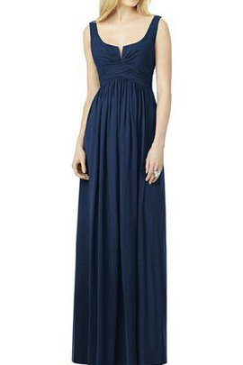 A-Line Square Long Ruched Floor Length Bridesmaid Dress