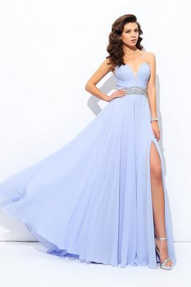 A-Line Beading Sweep Train Sleeveless Chiffon Evening Dress