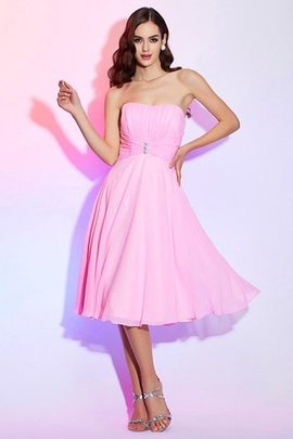 Chiffon Princess Pleated Knee Length Strapless Bridesmaid Dress