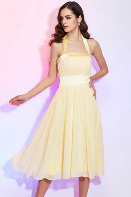 Sleeveless Natural Waist Halter Draped Princess Bridesmaid Dress