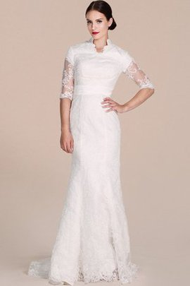 Court Train Lace High Neck Half Sleeves Wedding Dress