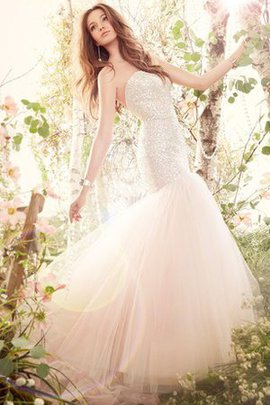 Sequins Court Train Dropped Waist Strapless Tulle Wedding Dress